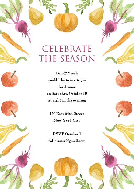Online Thanksgiving invitation card with pumpkin and more colorful vegetables.