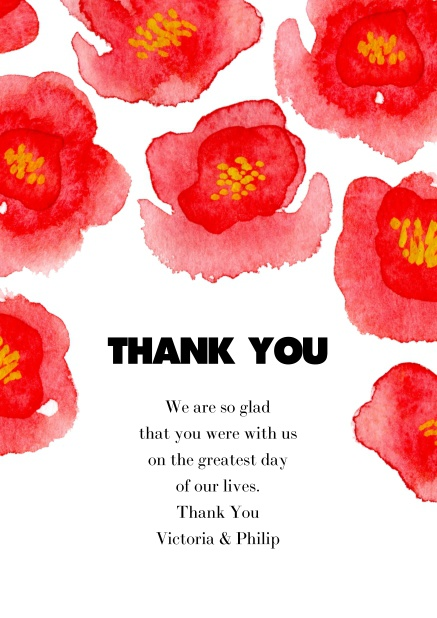 Thank you card online with red flowers, good for thanking guests for presents or for their presence.