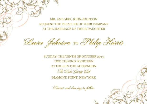 Online Paper Wedding invitation card with delicate flowers in two corners.