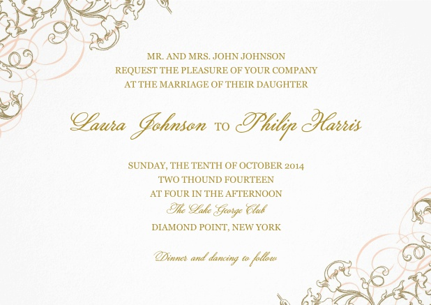 Paper Wedding invitation card with delicate flowers in two corners.