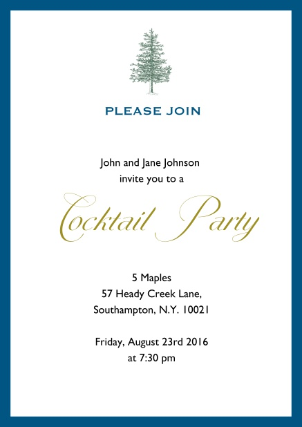 Online Invitation card design with tree and colorful frame. Blue.