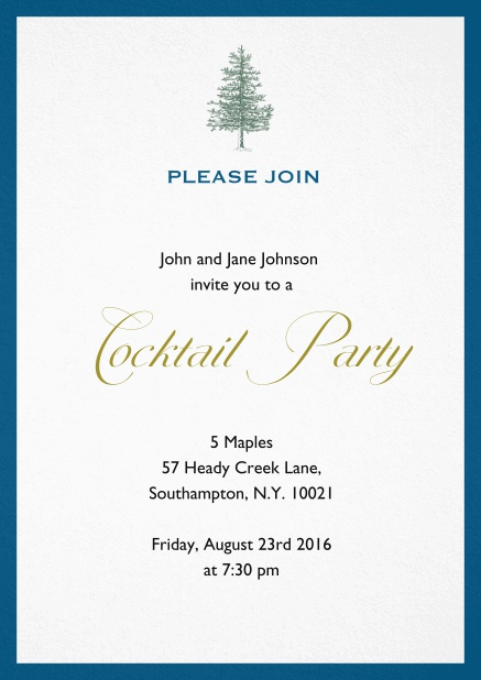 Invitation card design with tree and colorful frame. Blue.