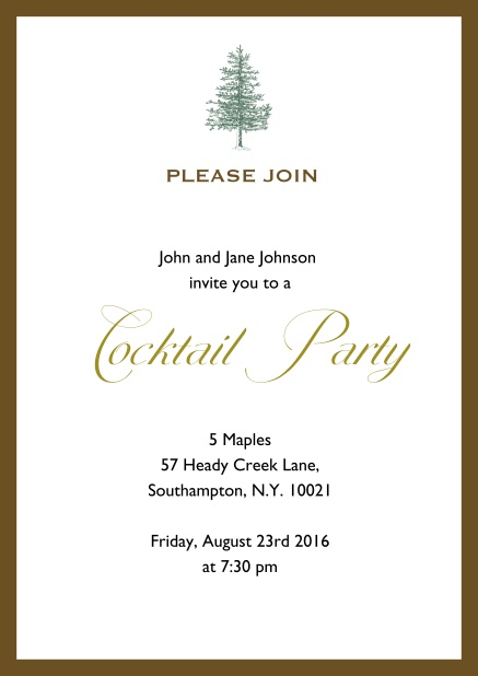 Online Invitation card design with tree and colorful frame. Brown.