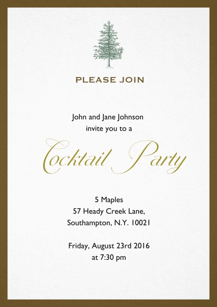 Invitation card design with tree and colorful frame. Brown.