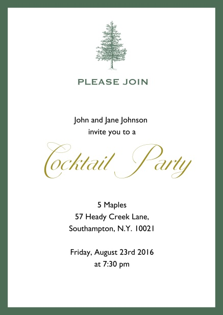 Online Invitation card design with tree and colorful frame. Green.