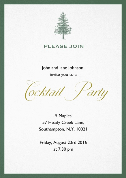 Invitation card design with tree and colorful frame. Green.