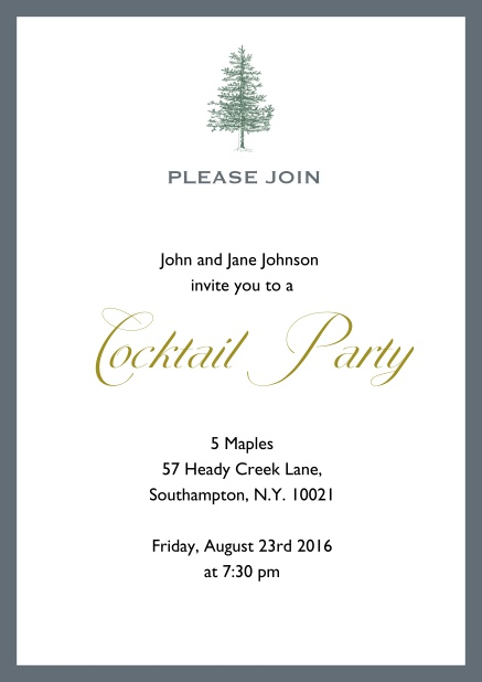 Online Invitation card design with tree and colorful frame. Grey.