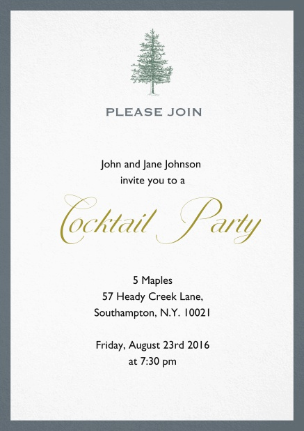 Invitation card design with tree and colorful frame. Grey.