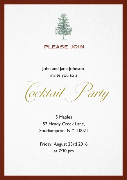 Invitation card design with tree and colorful frame. Red.