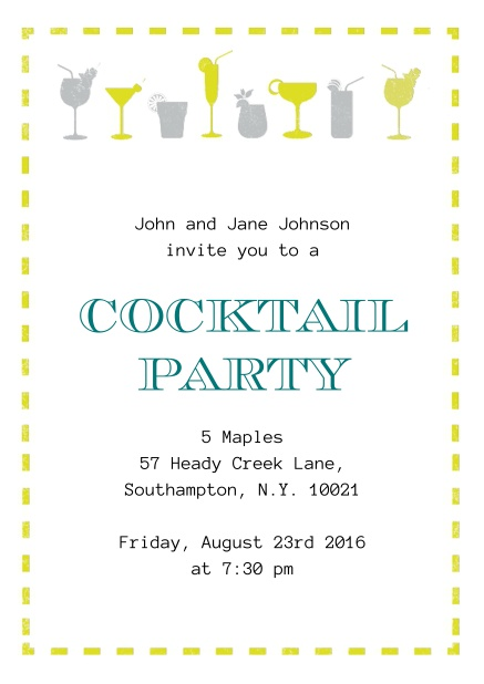 Online Summer cocktails invitation with yellow and grey cocktails.