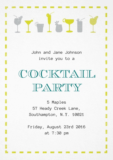 Summer cocktails invitation with yellow and grey cocktails.