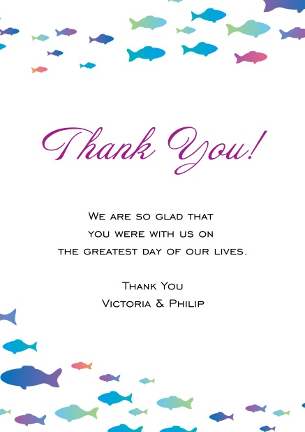 online thank you card with colorful fishes