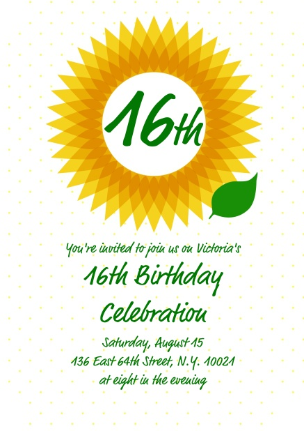Online Birthday Invitation Card With A Big Sunflower