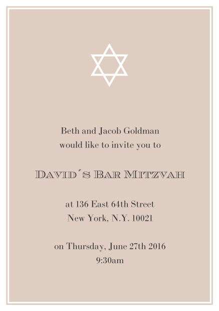 Online Bar or Bat Mitzvah Invitation card in choosable colors with Star of David at the top. Beige.