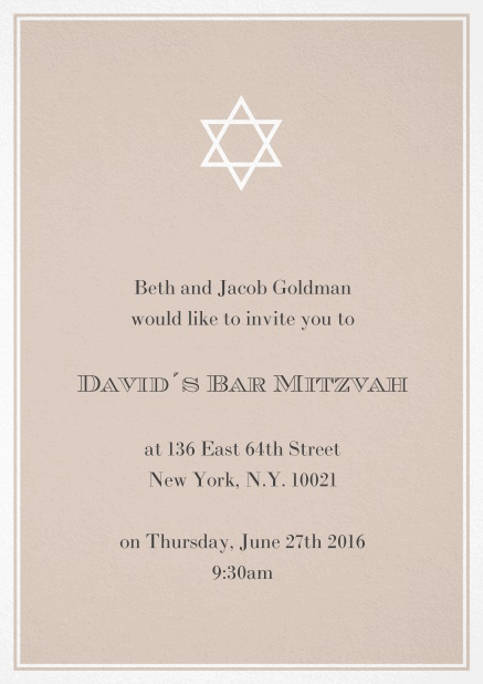Bar or Bat Mitzvah Invitation card in choosable colors with Star of David at the top. Beige.