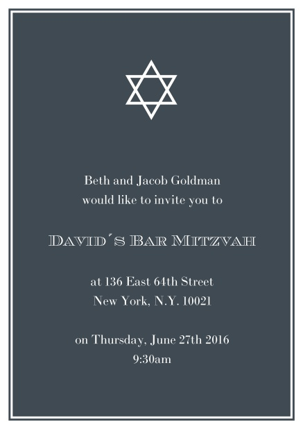 Online Bar or Bat Mitzvah Invitation card in choosable colors with Star of David at the top. Black.