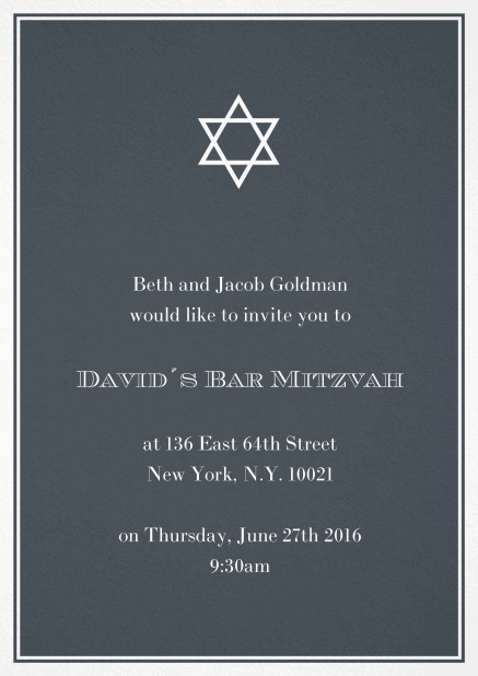 Bar or Bat Mitzvah Invitation card in choosable colors with Star of David at the top. Black.