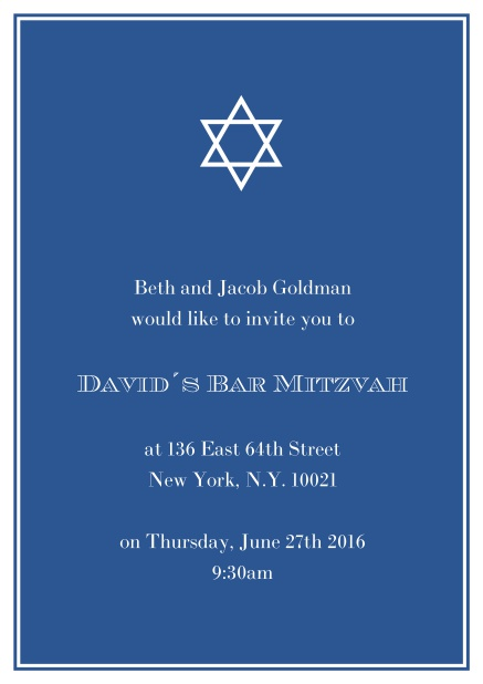 Online Bar or Bat Mitzvah Invitation card in choosable colors with Star of David at the top. Blue.