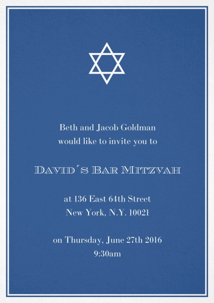 Bar or Bat Mitzvah Invitation card in choosable colors with Star of David at the top. Blue.