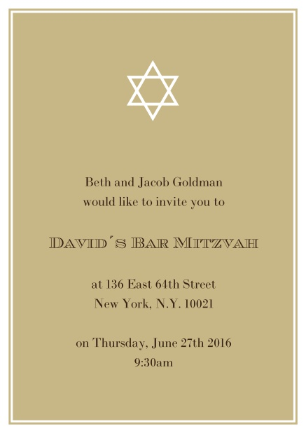 Online Bar or Bat Mitzvah Invitation card in choosable colors with Star of David at the top. Gold.