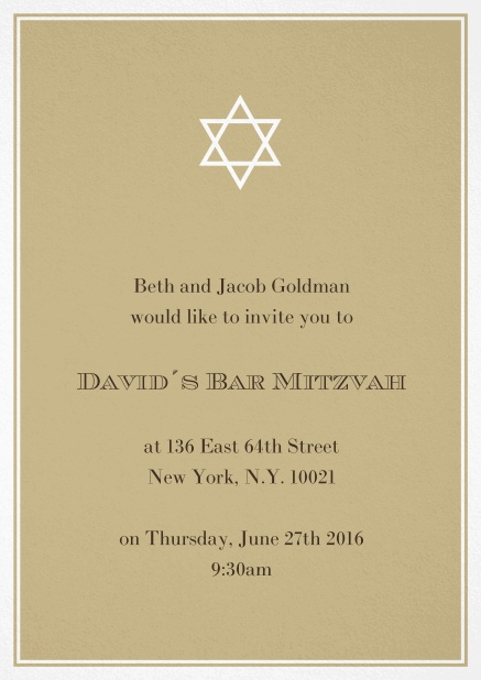 Bar or Bat Mitzvah Invitation card in choosable colors with Star of David at the top. Gold.