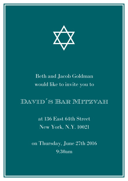 Online Bar or Bat Mitzvah Invitation card in choosable colors with Star of David at the top. Green.