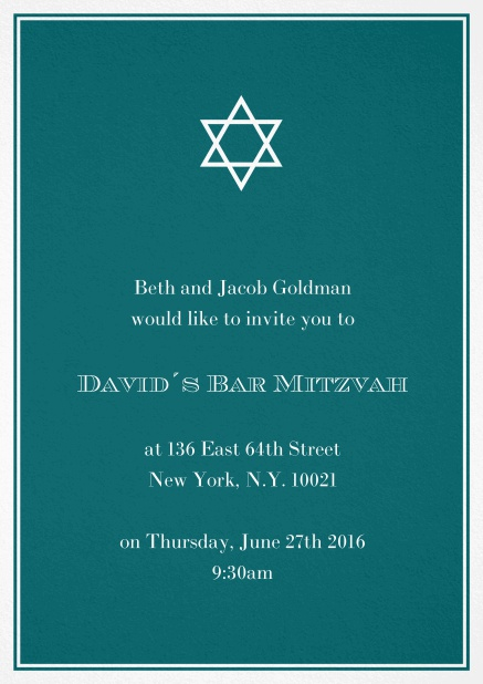 Bar or Bat Mitzvah Invitation card in choosable colors with Star of David at the top. Green.