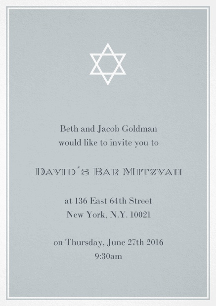 Bar or Bat Mitzvah Invitation card in choosable colors with Star of David at the top. Grey.