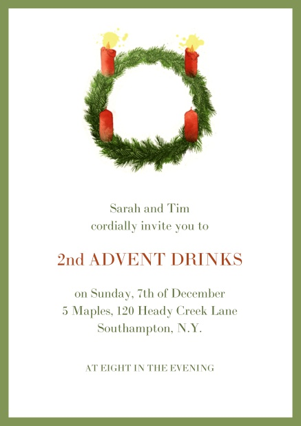 Online Advent invitation card with two burning candles. Green.