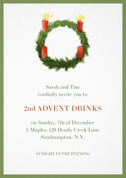 Advent invitation card with two burning candles. Green.