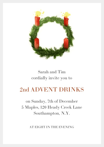 Online Advent invitation card with two burning candles. Grey.
