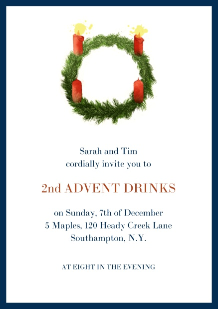 Online Advent invitation card with two burning candles. Navy.