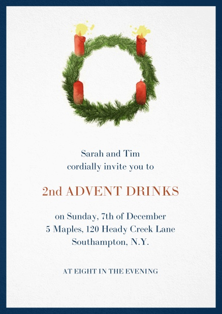 Advent invitation card with two burning candles. Navy.