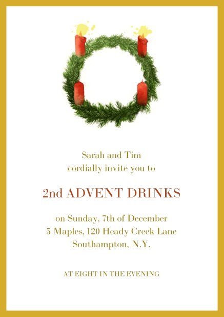 Online Advent invitation card with two burning candles. Yellow.