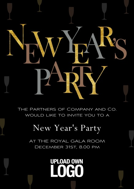 Online Dark New Years Party celebration card with gold and silver text.