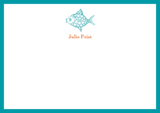 customizable online note card with fish and frame in various colors green - Note Cards Online