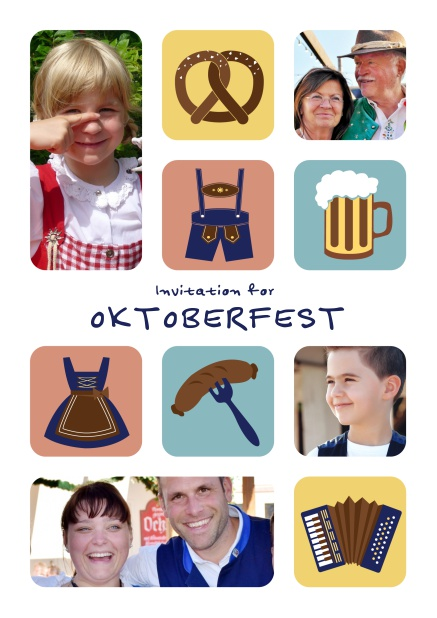 Oktoberfest Online invitation card with illlustrations of a pretzel, dirndl, lederhosen, sausage etc including the option to upload photos