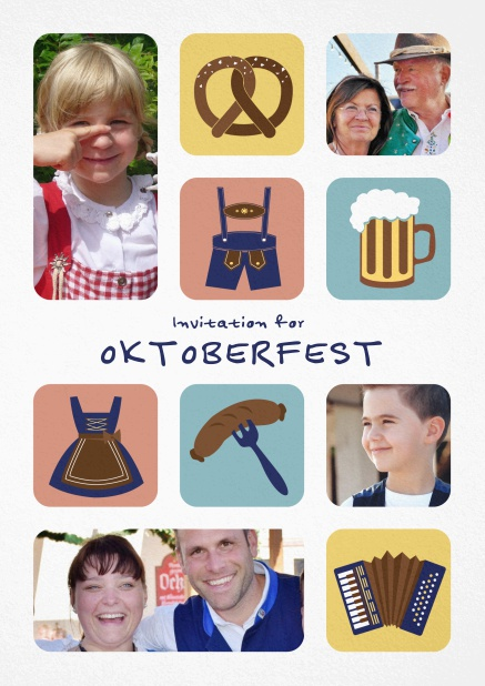 Oktoberfest invitation card with illlustrations of a pretzel, dirndl, lederhosen, sausage etc including the option to upload photos
