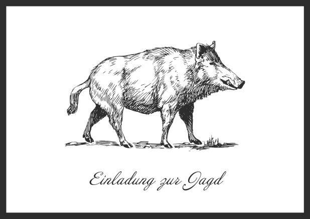 Online Hunting invitation card with illustrated strong wild boar Black.