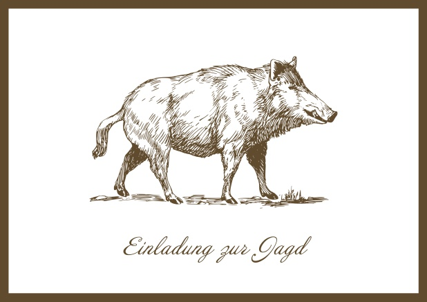 Online Hunting invitation card with illustrated strong wild boar Brown.