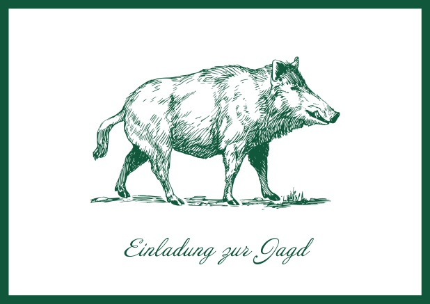 Online Hunting invitation card with illustrated strong wild boar Green.