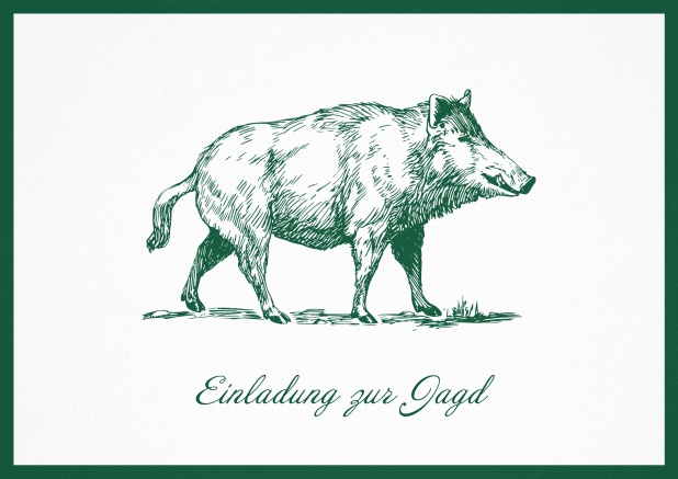 Hunting invitation card with illustrated strong wild boar Green.