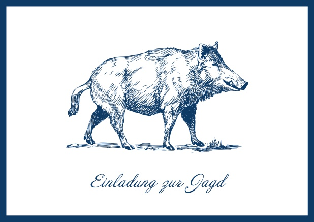 Online Hunting invitation card with illustrated strong wild boar Navy.