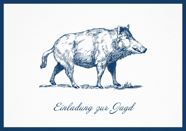 Hunting invitation card with illustrated strong wild boar Navy.