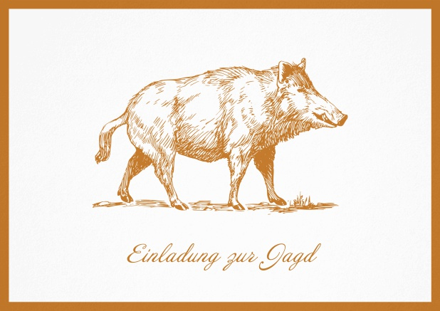Hunting invitation card with illustrated strong wild boar Orange.