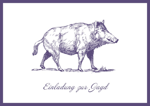 Online Hunting invitation card with illustrated strong wild boar Purple.