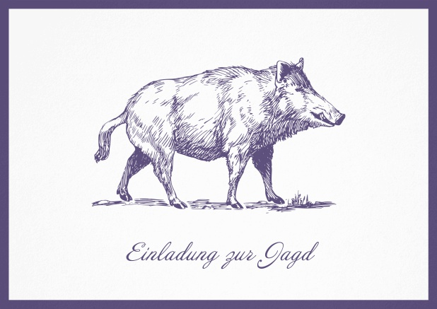 Hunting invitation card with illustrated strong wild boar Purple.