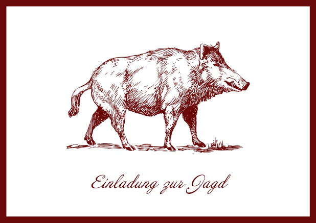 Online Hunting invitation card with illustrated strong wild boar Red.