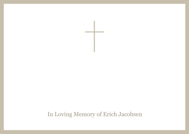 Online Classic Memorial invitation card with black frame and Cross in the middle and famous quote. Beige.
