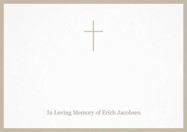 Classic Memorial invitation card with black frame and Cross in the middle. Beige.